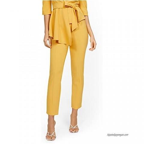 New York & Co. Women's Yellow Back-Zip Straight-Leg Pant - 7Th Avenue