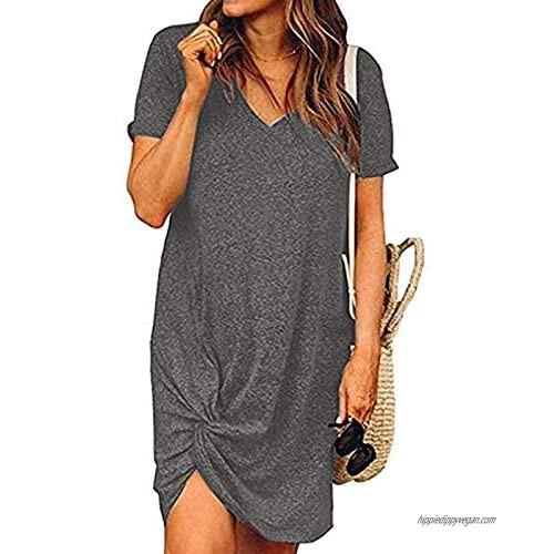 Chalier T Shirt Dress Summer Short Sleeve Dresses for Women Tops Cotton Tee Shirt Dresses Twist Knot Tshirt Dress Gifts
