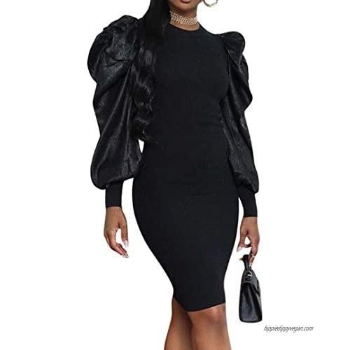Women's Long Sleeve V Neck Colorblock One Off Shoulder Irregular Slim Sexy Bodycon Business Mini Dress