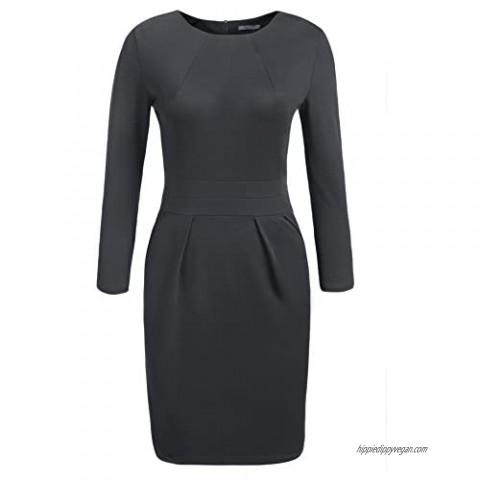 ACEVOG Women's Work Dress 3/4 Sleeve Official Wear to Work Retro Business Bodycon Party Pencil Dress