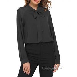 ACEVOG Women Bow Tie Neck Blouses Casual Tops Long Sleeve Button Shirts XS-XXL