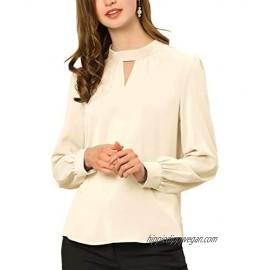 Allegra K Women's Work Office Shirt Keyhole Elegant Stand Collar Long Sleeve Chiffon Blouses