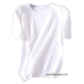 DAIMIDY Women's Short Sleeves Cashmere Blend Soft Summer Tops