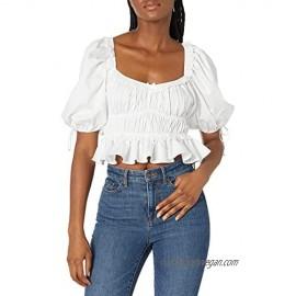 For Love & Lemons Women's Shirred Cotton Polin Crop Top
