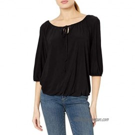 Star Vixen Women's Elbow-Sleeve Peasant Top with Keyhole Tie