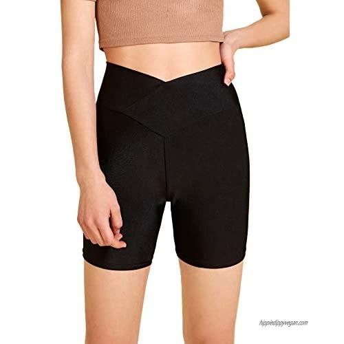 Romwe Women's Cross High Waist Yoga Shorts Running Workout Stretchy Biker Shorts