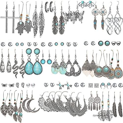 45 Pairs Bohemian Silver Drop Dangle Earrings Set for Women/Girl  Hypoallergenic Fashion Vintage Bronze Waterdrop Dangling Earrings Jewelry for Birthday/Christmas Gift