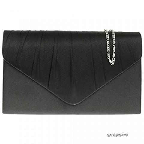 Girly Handbags Satin Pleated Clutch Bag