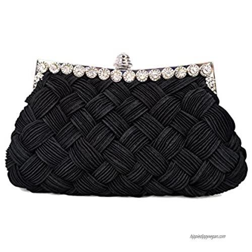 Elegant Braided Pleated Glitter Rhinestone Clutch Evening Bag - Diff Colors