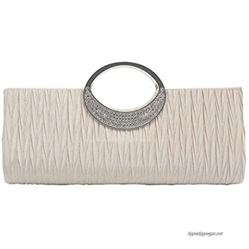 Wiwsi Women's Evening Party Crystal Pleated Wedding Clutch Purse Wallet Handbag