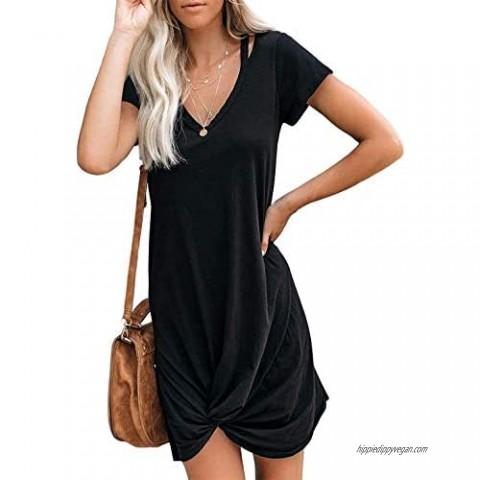 WEKILI Women's Casual Loose Dress Beach Cover Up V Neck Short Sleeve Ultra-Soft Knot Twist Tie Dress