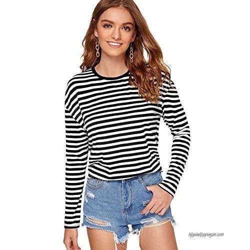 SweatyRocks Women's Casual Striped Tee Shirt Long Sleeve Round Neck Top