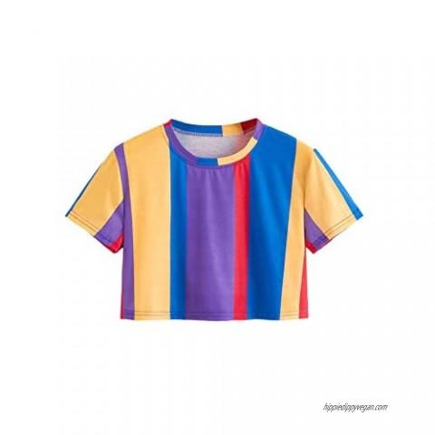 SweatyRocks Women's Short Sleeve Round Neck Colorblock Stripe Tee Shirt Crop Top