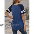 Dokotoo Womens Color Block Contrast Short Sleeve T-Shirt Casual Loose Tunic Top